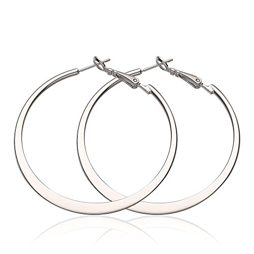 Polished Flat Round Hoop (Silver Big Hoop Earrings for Women or Girls High Polished Stainless Steel Flat Endless Round Hoops Earrings)
