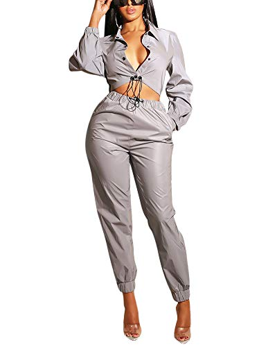 2 Club Jacket (Womens 2 Pieces Outfits Jumpsuits Fully Reflective Jacket Long Pants Jumpsuits Set Club Wear M)