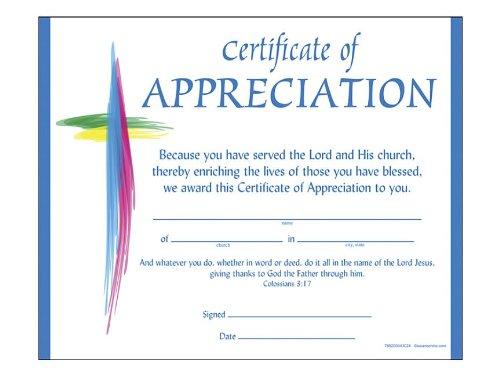 Certificate of Appreciation Served the Lord - Certificates Church Appreciation