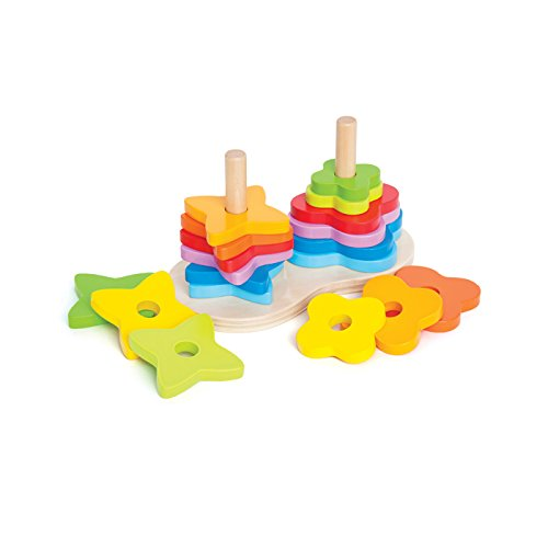 Hape Double Rainbow Stacker Wooden Ring Set Toddler (Block Ring Star)