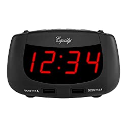 Equity by La Crosse 30416 0.9 Inch LED Dual USB Alarm Clock