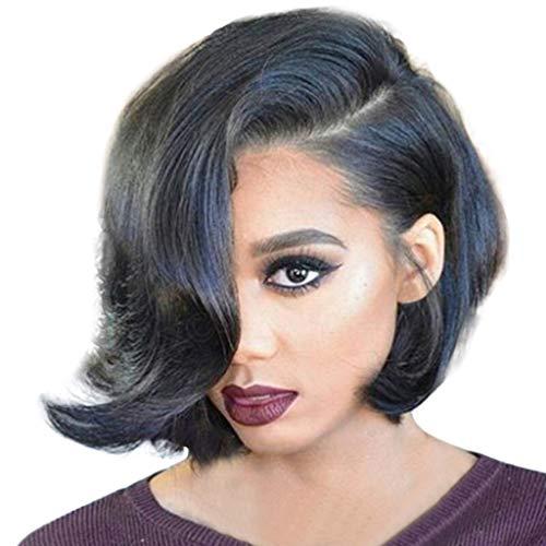 Feitengtd Wigs, Short Wavy Bobo Hair Ordinary hair net Wig Glueless Front Wigs Black Women (Black) (Bobo Full Wig)