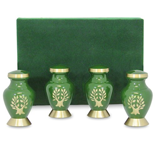 Tree of Life Mini Keepsake Urns For Human Ashes - Set of 4 - Beautiful, Timeless, Classic - Find Comfort Everytime You Look At This Small High Quality Cremation Urns - With Velvet Urn (Memorial Set)