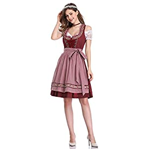 GloryStar Oktoberfest Dress Women's German Dirndl Dress Costumes for Bavarian Oktoberfest Carnival Halloween