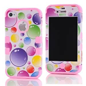 SHHR-HX4G106N Plastic+Silicone Colorful Rainbow Bubbles Design Hybrid case for Apple iPhone4 4s 4G -Light Pink Color