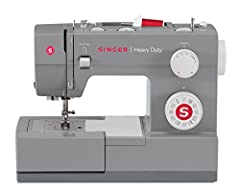 This SINGER Heavy Duty 4432 sewing machine is a true workhorse. With a heavy-duty metal interior frame, stainless steel bedplate, extra-high sewing speed and powerful motor, it can sew through a variety of heavy weight fabrics. Convenient fea...