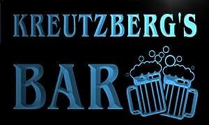 w082511-b KREUTZBERG Name Home Bar Pub Beer Mugs Cheers Neon Light Sign