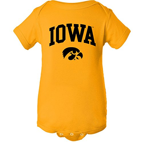 YC03 - Iowa Hawkeyes Arch Logo Creeper Infant Creeper Bodysuit - 18 Month - Gold