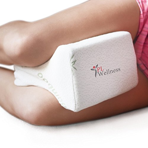 Sciatica Pain Relief Knee Pillow - Leg support orthopedic cushion for back, pregnancy, back, hip, joint pain for side or back sleepers. Quality Memory Foam wedge with Removable Bamboo Cover