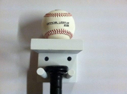 Baseball Bat Rack and Ball Holder Display Meant to Hold 1 Full Size Bat and 1 Baseball White by MWC