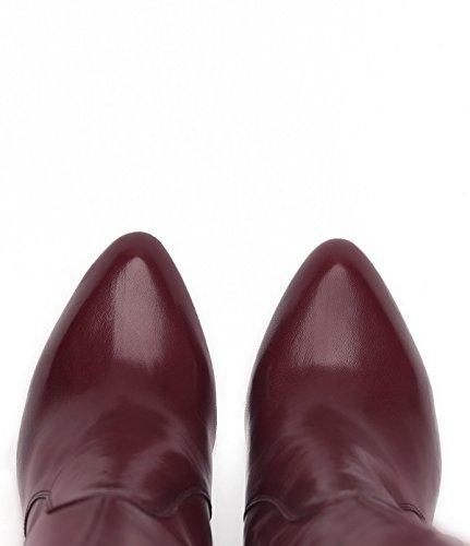 PoiLei Lola - chaussure femme / classiques bottes en cuir à talon haut epais - avec bout pointu / elegantes et sophistiquées rouge