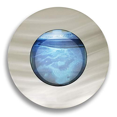 Wall Double Tank - Aussie Aquariums AA-Porthole-BSILVER 2.0 Wall Mounted Aquarium, Brushed Silver