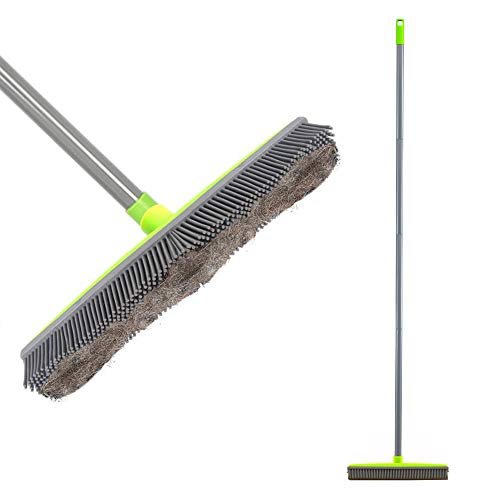 LandHope Push Broom Long Handle Rubber Bristles Sweeper Squeegee Edge 59 inches Non Scratch Bristle Broom for Pet Cat Dog Hair Carpet Hardwood Tile Windows Clean Water Resistant (Multi Segment Handle)