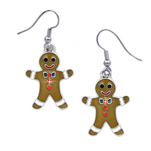 cocojewelry Gingerbread Man Charm Dangle Earrings Christmas Jewelry (Gingerbread Man)