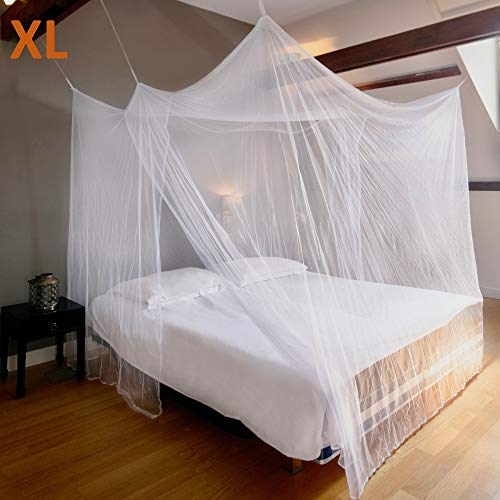 (EVEN NATURALS Luxury Mosquito NET for Bed Canopy, Extra Large Tent for Double to King Size, Finest Holes, Square Netting Curtain, 2 Entries, Easy to Install, Hanging Kit, Storage Bag, No Chemicals)