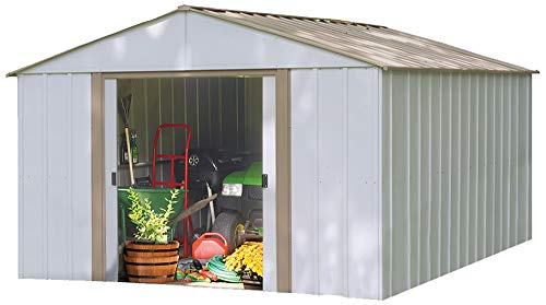 Garden and Outdoor Arrow Oakbrook High Gable Steel Storage Shed, Eggshell/Taupe, 10 x 14 ft. outdoor storage sheds