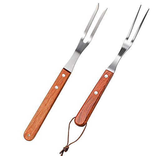 Meat Forks with Wooden Handle and Stainless Steel Carving Fork Barbecue Fork for Kitchen Roast (2 Pieces,13 Inch, 10…