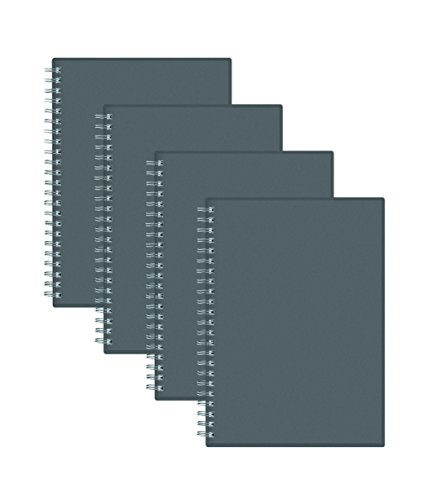 "Blue Sky Notes Professional Notebook, Flexible Cover, Twin-Wire Binding, 5.5"" x 8"", Grey, 4-Pack"