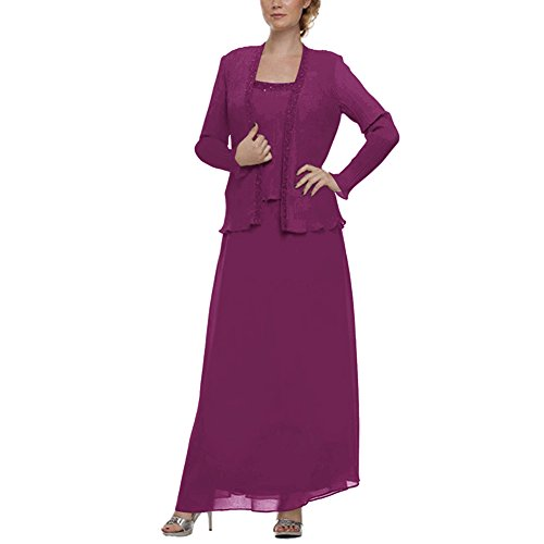 H.S.D Mother of the Bride Dress Chiffon Long Formal Gowns with Jacket Grape Alfred Angelo Mother Of The Bride
