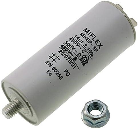 Condensador de Arranque de Motor, 14 µF, 450V, 35 X 83 mm, conexión M8, Miflex, 14 uF.