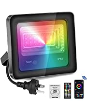 Flood Light,Perkisboby 30W RGB LED Flood Light, Bluetooth App Control RGB Color Changing Stage Lights with Remote, 2700K- 6500K Dimmable RGB Lights,Voice Recognition and Music Synchronize, IP66 Waterproof Outdoor Flood Lights Outdoor suitable for Party, Garden
