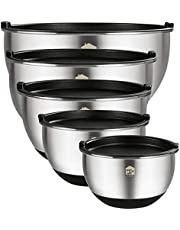 Mixing Bowls Set of 5, Wildone Stainless Steel Nesting Mixing Bowls with Lids, Measurement Lines & Silicone Bottoms, Size 8, 5, 3, 2, 1.5 QT, Non-Slip & Stackable Design, Great for Mixing and Prepping
