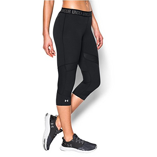 "Under Armour Women's HeatGear CoolSwitch 15"" Capri, Black/Black, Small"