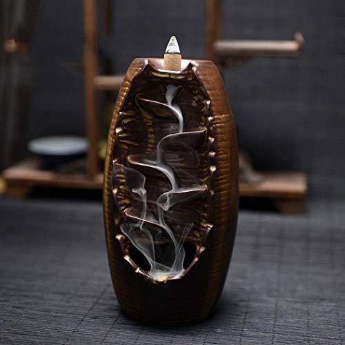 KUGIN Elliptical Handmade Fine Ceramic Waterfall Countercurrent Incense Burner Holder Home Decoration Aromatherapy Gift Decoration Free 10 Incense