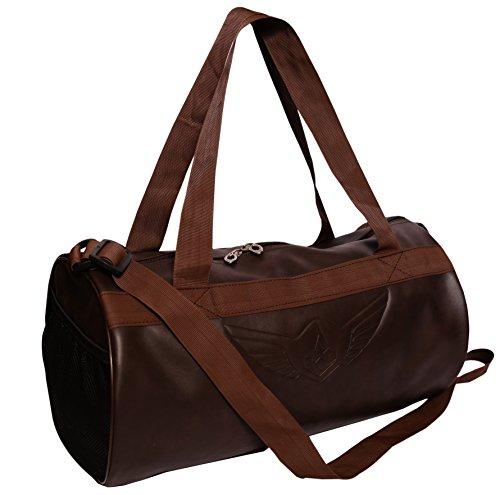 AUXTER Brown Leatherette Gym Bag Duffel Bag Shoulder Bag for Men & Women Emboss Logo (Brown)