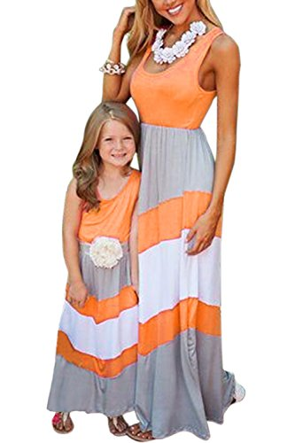 WIWIQS Summer Casual Mommy and Me Boho Striped Chevron Maxi Dresses(Gray and -