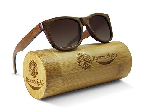 Hammockable Handmade Natural Wood Polarized Sunglasses that Float! (Brown Maple - Plain, Brown) -