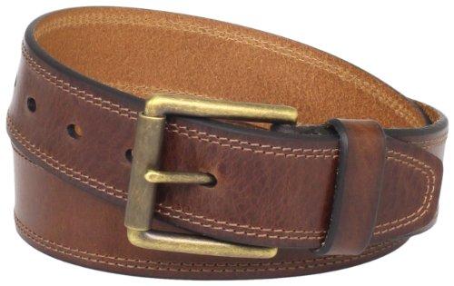 [Levi's Men's Contrast-Stitched Belt] (Leather Pebbled Buckle Belt)