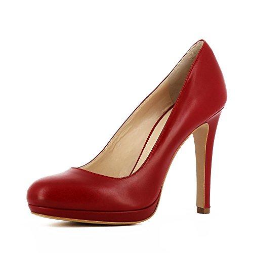 rojo Piel Evita de Zapatos oscuro mujer de vestir Shoes Cristina para qYYrvz1