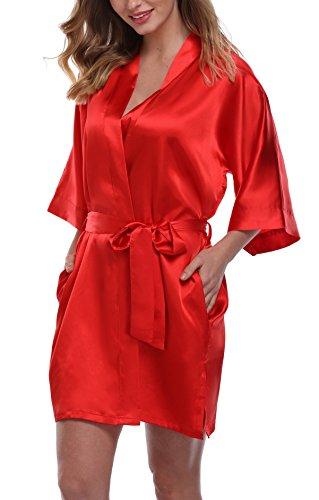 Women's Pure Color Satin Kimono Robe Short Bridesmaids Robe, Red, (Wholesale Satin Robes)