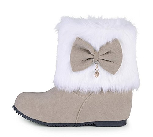Vestido De Punta Redonda Para Mujer De Seda De Aisun Tacones Bajos De Elevación De Tobillo Botas De Nieve Botines De Zapatos Con Moños Beige