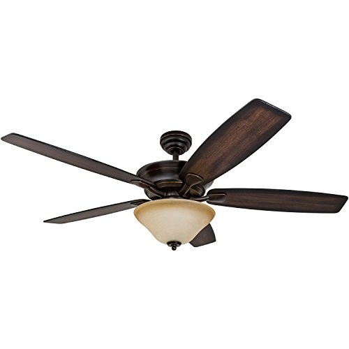 (Prominence Home Morgantown, Traditional LED Ceiling Fan, 56-inches, 6-Speed, Tri-Mount Brushless DC Motor with Remote Control, Rustic Oak/Rosewood Fan Blades, Oil Rubbed Bronze)
