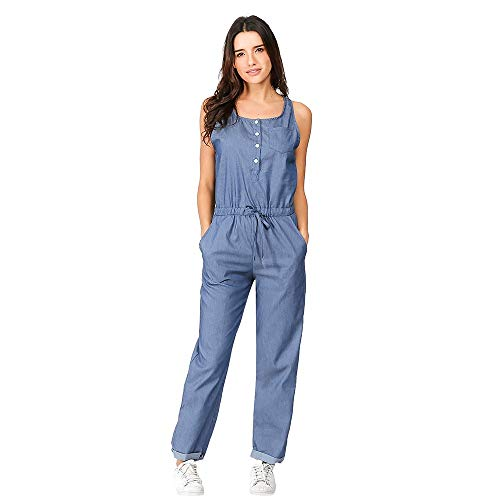 - iYYVV Womens Denim Holiday Playsuit Jeans Elastic Waist Strappy Long Beach Jumpsuit