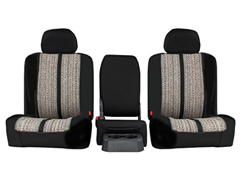 Front Seats: ShearComfort Custom Saddle Blanket Seat Covers for Dodge Ram Pickup 1500 (2013-2018) in Sport Black for 40/20/40 w/Center...