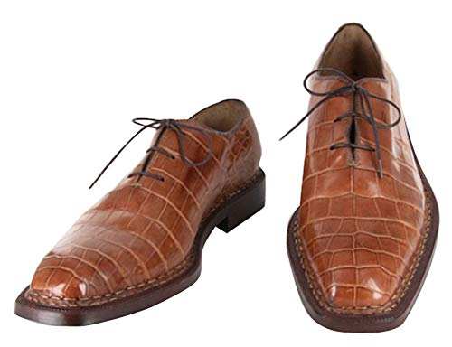 New $7500 Sutor Mantellassi Caramel Brown Crocodile Shoes - Lace Up - 9.5/42.5