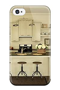 Tpu Case For Iphone 4/4s With Farmhouse Kitchen With Breakfast Bar And Vintage Stools