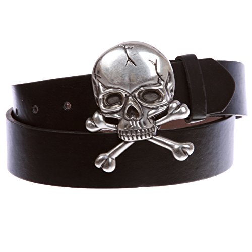 Skull and Cross Bone Pirate Halloween Costume Belt Multi-Color Options, Black | M - 34