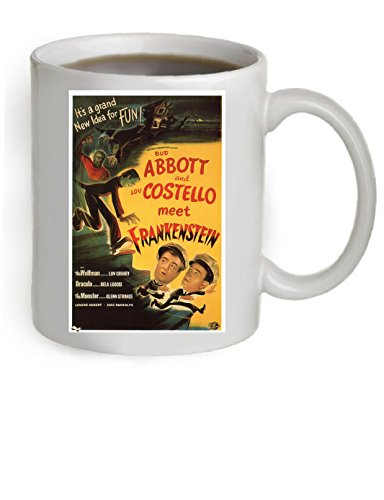 Abbott and Castello Meet Frankenstein Movie Poster Coffee Mug 11 OZ. (The Poster is printed on both sides of the Mug).