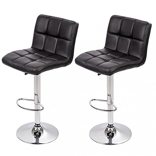Set of 2 PU Leather Adjustable Bar Stool Counter Height Chair with Backrest (Bar Chair)