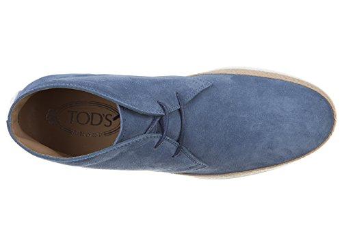 Tods Menns Semsket Ørken Støvler Blonder Opp Ankel Boots Blu