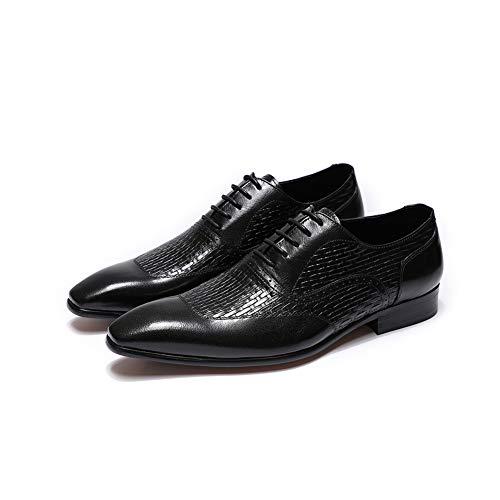 FELIX CHU Mens Dress Shoes Black Oxfords Wedding Office Luxury Italian Genuine Leather Lace-Up Formal -