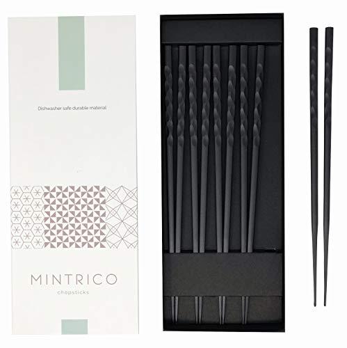 Japanese Style Chopsticks - Mintrico Reusable Chopsticks Luxury Japanese Style 5 Pair Set Dishwasher Safe (Wave)