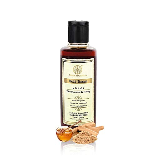 Khadi Natural Herbal Ayurvedic Woody Sandal and Honey Herbal Shampoo for all Hair Types SLS & Paraben Free (210 ml) (Best Smelling Shampoo India)