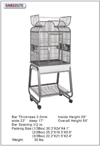 HQ's Opening Scroll Cage, Small Parrot Cage With Cart Stand, 1 Per Box, 22x17x55″H, Black.., My Pet Supplies