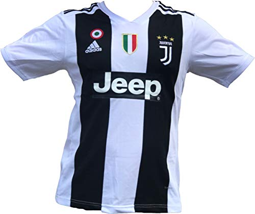 ca44eb6cf Juventus F.C. 2019 Home Soccer Jersey for Men with Ronaldo No.  7 on The  Back and All Patches - Logos as Original (Black White 1st Uniform