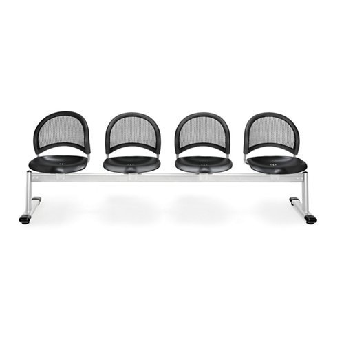 OFM 334-P-BLK Moon 4-Unit Beam Seating with 4 Plastic Seat (Moon 4 Beam Seating)